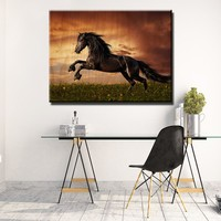 Black Friesian Horse Wooden Wall Decor