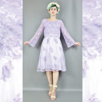 Sheer Floral Lace Dress Light Purple Dress Vintage Bridesmaid Dress Bell Sleeves Embrodiered Long Sleeve Dress Lavender Fit and Flare (S)