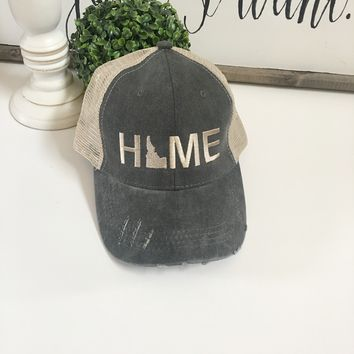 Idaho Home hat, Denim embroidered hat | Grey Idaho State Hat