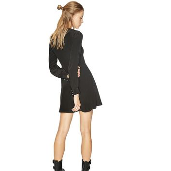 Women V-Neck A-Line Casual Dress Long Sleeve Buttons Front Sleeve Slim  Lady Party Dress