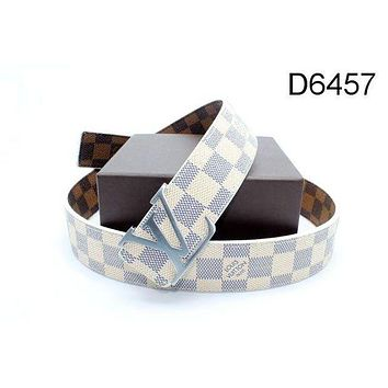 LV Stylish Woman Men Plaid Print Leather Smooth Buckle Belt I