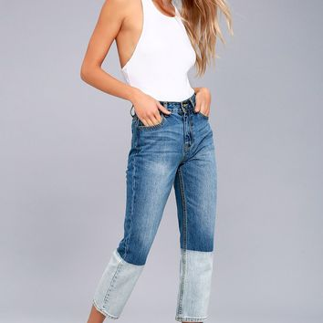 EVIDNT Malibu Blue Dip Dyed Two-Tone Cropped Jeans