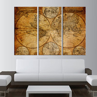 vintage worldmap canvas art print,  world map wall art, antique world map canvas print, extra large wall art, old world map canvas print t23