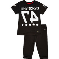 River Island Mini boys black Tokyo top and joggers outfit