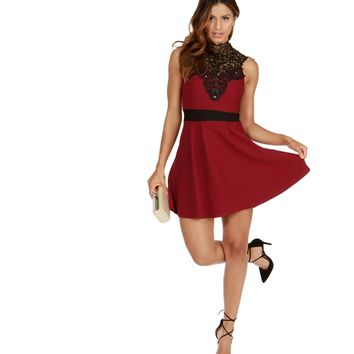 Burgundy Lovely Skater Dress