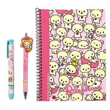 San-x Rilakkuma A5 Note, Mechnical Pencil, Eraser School Supply Stationary Set : Pink Korilakkuma $5.59