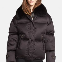 Women's Burberry London Goose Down Puffer Jacket with Removable Genuine Fox Fur Collar,