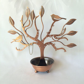 Pierced Earring Tree, Earring Holder, Copper Earring Tree, Jewelry Organizer, Vanity Item, Earring Keeper, Copper and Birds, Jewelry Stand