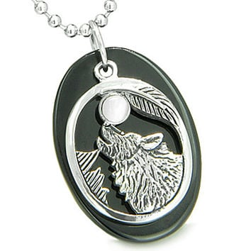 "Amulet Courage Howling Wolf and Moon Lucky Charm Black Onyx White Cat's Eye Gemstones Pendant on 22"" Stainless Steel Necklace"