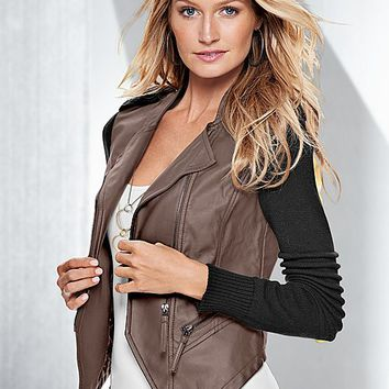 Faux leather sweater jacket, cami