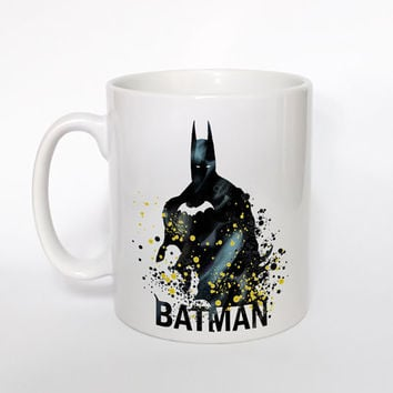 Batman Mug Watercolor Art Cup Coffee Mug Batman Cup Tea Mug Birthday Gift Coffee Cup Batman Art Batman Art Mug Christmas Gift