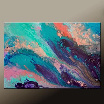 Abstract Canvas Art Contemporary Painting by Destiny Womack - dWo - Pastel Skies