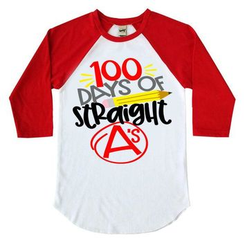 100 Days Of Straight A's Kids Raglan Shirt