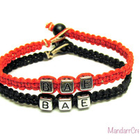 Bae Bracelets for Couples or Best Friends, Red and Black Macrame Hemp Jewelry