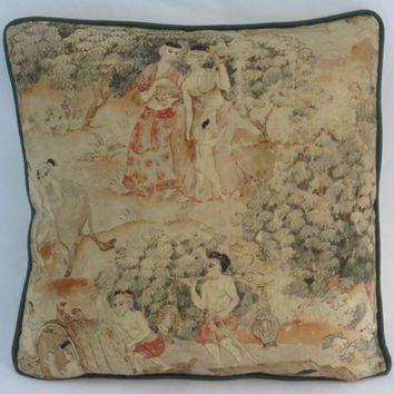 "Thai Pictorial Pillow, Scenic Oriental Print, Jims Dream, Jim Thompson Fabric, Green Coral Gold Beige, 17"" Linen, Feather Insert, Ready Ship"