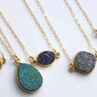Gold Druzy Necklace Natural Druzy Jewelry - Drusy Necklace Jewelry - Green Purple Gray Blue Druzy Christmas Gift Layering Statement Jewelry