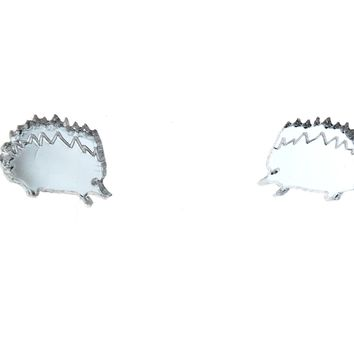 Hedgehog Earrings in Mirror Silver
