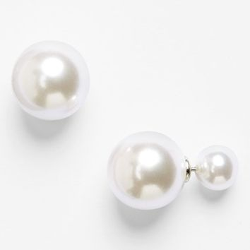 Junior Women's BP. Two-Sided Faux Pearl Earrings - Pearl