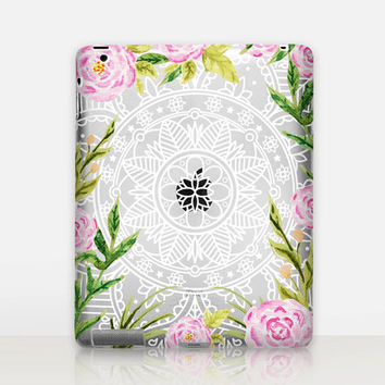 Floral Mandala Transparent iPad Case For - iPad 2, iPad 3, iPad 4 - iPad Mini - iPad Air - iPad Mini 4 - iPad Pro