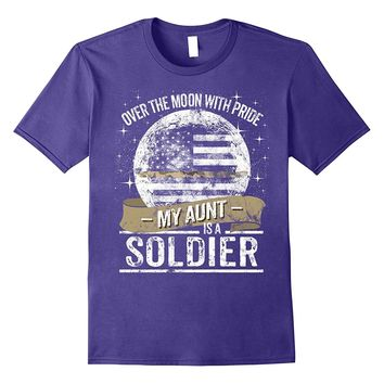 Soldier Aunt Support Thin Camo Line Military Tee Shirt