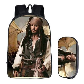 Anime Backpack School Japanese kawaii cute Pirates of the Caribbean 2PC Set with Pencil Case Student Backpacks DIY Printing School Bags For Kids Book Bag AT_60_4