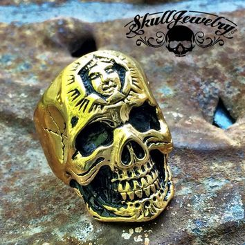 Gold-Tone 'Don't You Forget About Me' Stainless Steel Skull Ring with Inner Face (336)