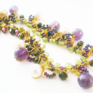 Crocheted Lace Stone NecklaceBeaded Peridot Amethyst by sukran