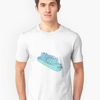 'Gin Bottles on Barge Boat Drawing' T-Shirt by patrimonio