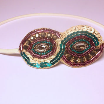 Embellished headband. Purple and Teal beaded headband. Vintage style bridal hairband. Elasticated hairband. Flapper style hair accessory.
