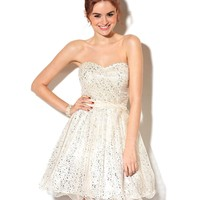 Morgan Juniors Dress, Strapless Metallic A-Line - Juniors Dresses - Macy's