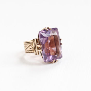 Antique Victorian 8k Rose Gold Rose de France Amethyst Ring - 1800s Size 4 Large Light Purple Gemstone Cigar Band Fine Statement Jewelry