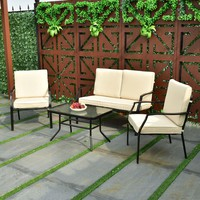 4 Piece Patio Furniture Sofa Set Coffee Table Chairs Backyard Garden Patio Pool
