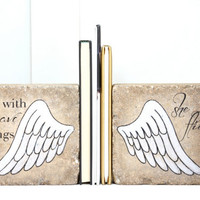 "Bookends. ""With brave wings she flies"". Inspirational Bookends for Girl. 6x6 Concrete Bookends. Heavy Bookends. Be Brave. Graduation Gift"