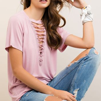 Deep V Laced Up Tee in Dusty Rose