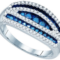 Blue Diamond Fashion Ring in 10k White Gold 0.7 ctw