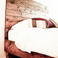 Farm Style Platform Bed Frame and Headboard set - Rustic - Old World