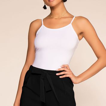 Tie A Ribbon High Waisted Paperbag Cuffed Shorts - Black