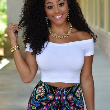 White Off-Shoulder Crop Top and Floral Print Shorts
