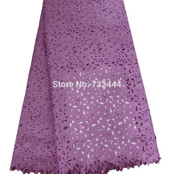 Nigerian lace fabrics for wedding new design laser cut lace fabric with colorful stones beads