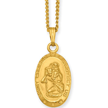 18 Inch Gold Plated St. Christopher Oval Medal Necklace by Kelly Waters