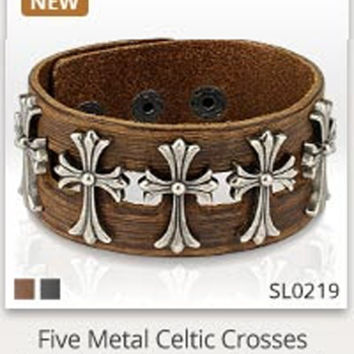 5 Celtic Cross Leather Bracelet