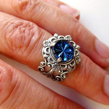 Gothic Knuckle Ring Art Deco Ring Sterling Silver Knuckle Ring Art Nouveau Ring Blue Midi Ring Filigree Ring Galaxy Ring- Cosmic Rays
