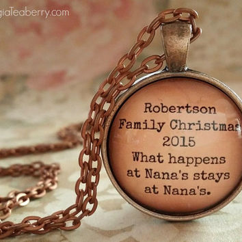 Personalized glass dome necklace, Family Holiday, what happens at Nanas, gift ideas, Family gifts, Christmas, Family Favors, key ring, gifts