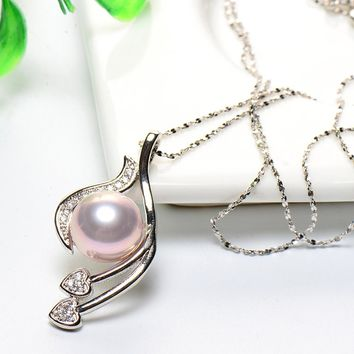 Pearl jewelrys Mother's gift Charm sterling silver jewelry Pendants Shell Purple women's necklace Women's clothing & accessories