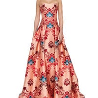 Carolina Herrera Brocade Jacquard Strapless Gown, Red/Multi