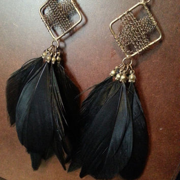 Black and Bronze feather chandelier earrings Antique gold