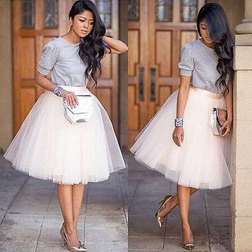 New Puff Women Chiffon Tulle Skirt White Black faldas Vestido High waist Midi Knee Length Chiffon plus size Female Tutu Skirts