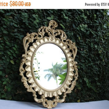ON SALE Hollywood Regency Vintage Style Italian Mirror / Vintage Style  Oval Ornate Gold Mirror / Ornate Gold Mirror