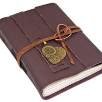 Brown Leather Journal - Lined Paper - Steampunk Heart Charm - Journal - Ready to Ship - Prayer Journal - Travel Journal - Brown Leather -