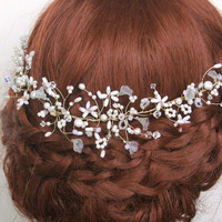 Isabelle Pearl Bridal Headdress, Bohemian Halo, Wedding Hair Vine, Bridal Forehead Jewellery